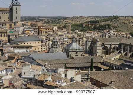 Scenery, overlooking the rooftops of the city of Toledo in Spain