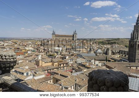 view from the air of the medieval city of Toledo in Spain