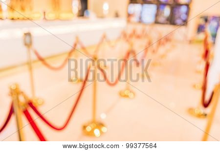 Golden Fence, Stanchion With Red Barrier Rope .