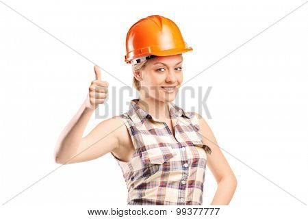 Female construction worker giving thumb up isolated on white background