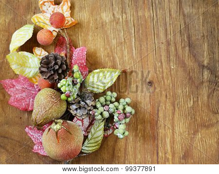 autumnal composition with fruits and leaves decorations for Thanksgiving holiday