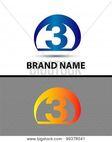 Vector sign logo number 3