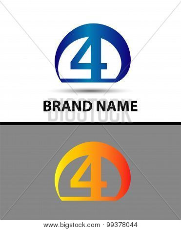 Vector sign logo number 4