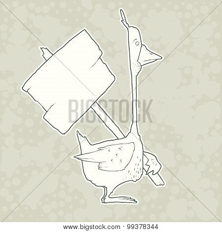 Hand Drawn Character Goose with wooden poster Isolated on Plain Background. Vector.
