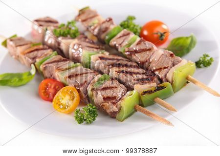 grilled meat and vegetable