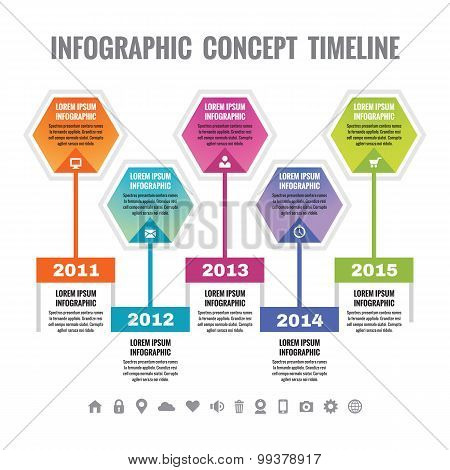 Infographic business concept in flat design style - timeline vector template.