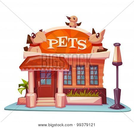 Pet shop building with bright banner. Vector illustration