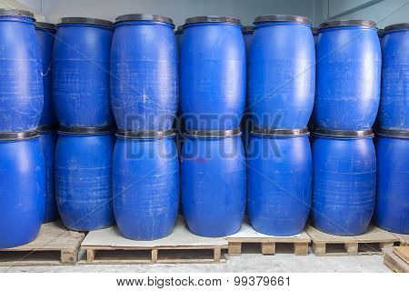 Blue Plastic Barrels Contain Chemical Inside
