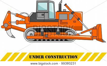 Dozer. Heavy construction machine. Vector illustration