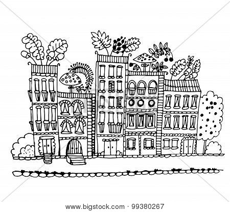 house with mushrooms and leaves on the roof graphic vector