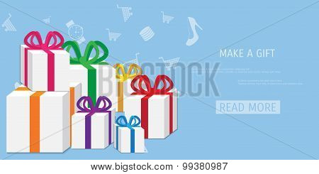 Vector online shopping gifts concept