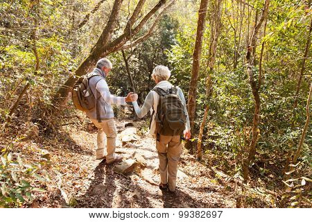 senior couple on a hiking trip in the mountain