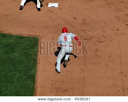 Phillies Shane Victorino Runs Towards Second During Steal
