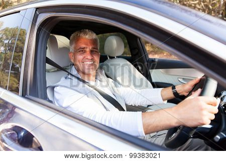 handsome senior man driving his new car