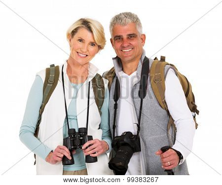 portrait of beautiful middle aged hiker couple