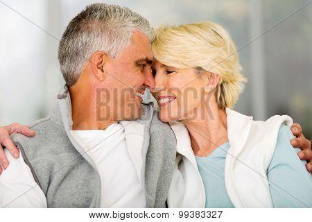lovely senior couple flirting at home
