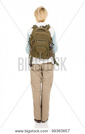 rear view of female hiker with backpack isolated on white background