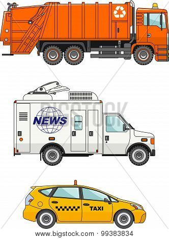 Set of different cars: garbage truck, taxi car and car crew media news, press and television.