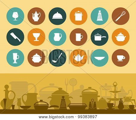 Icons and banner cookware and tableware