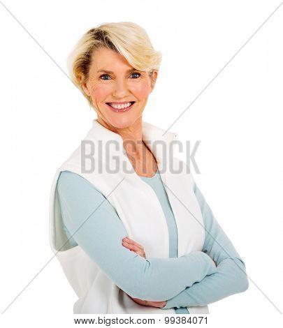 beautiful mature woman looking at the camera