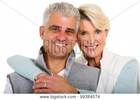 close up portrait of cute mid age married couple