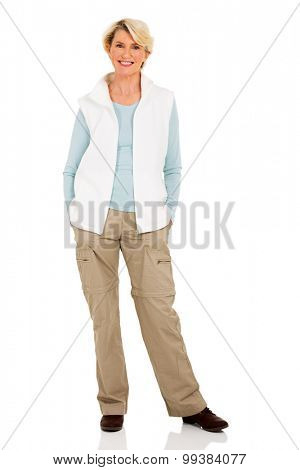 portrait of senior woman in casual clothes isolated on white