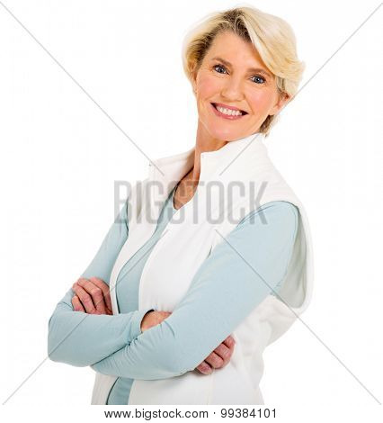 portrait of mid age woman with arms crossed