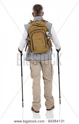 rear view of senior male hiker with backpack isolated on white background