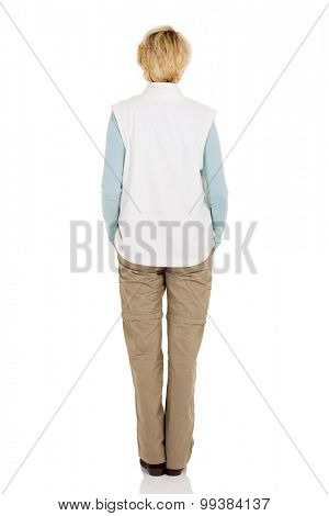 back view of senior woman isolated on white background