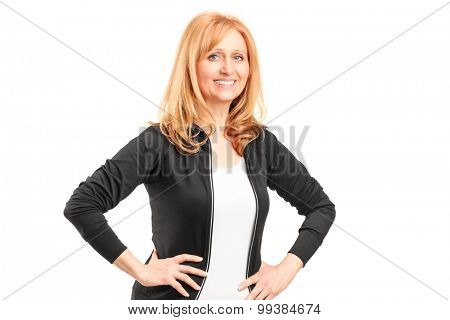 Mature blond woman posing isolated on white background