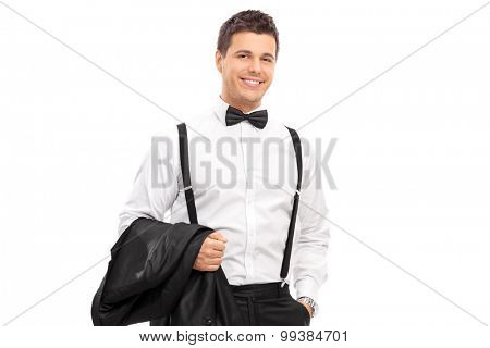 Elegant man carrying his coat and posing isolated on white background