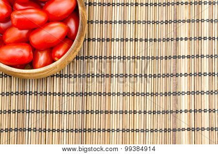Close-up Of Fresh, Ripe Tomatoes On Wood Background, Copy Space