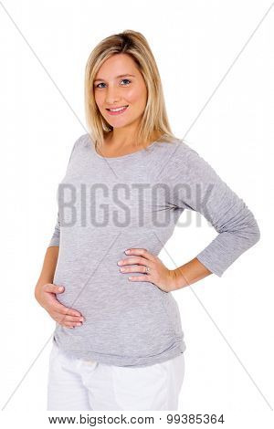 portrait of pretty young pregnant woman in casual clothes