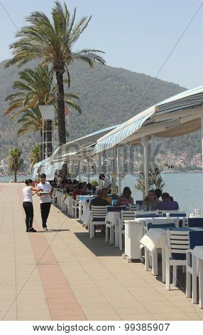 A resturant with views of fethiye