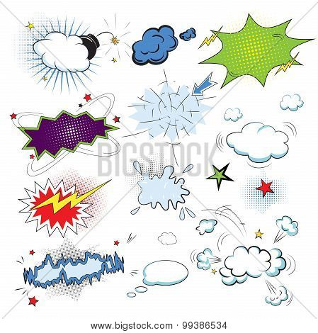 Blank text comic colored speech bubbles in pop art style