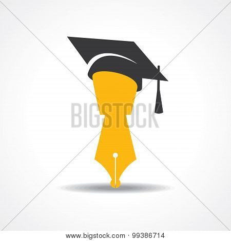 pen with graduation cap icon. educational symbol stock vector
