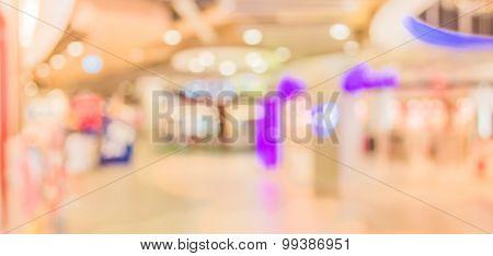 Blur Image Of Long Empty Corridor On Night Time