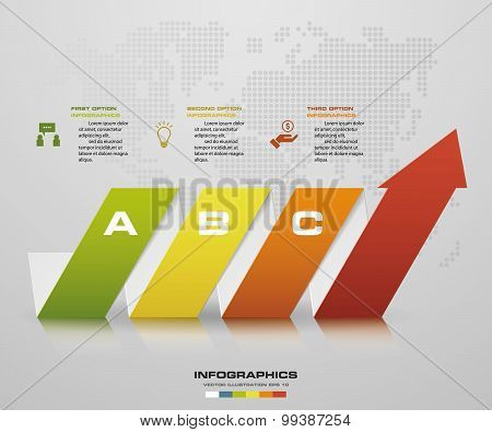 Abstract 3 steps arrow diagram. Step by step infographics.