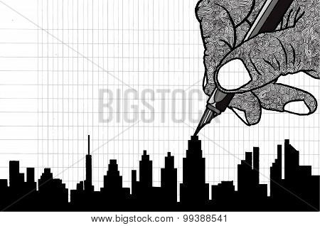 Simple Line Drawing Of Building In Big City