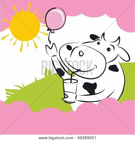 Vector Cow With Pink Balloon