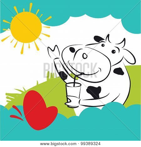 Vector Cow With Red Heart Butterfly