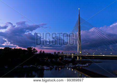 Cable bridge at twilight over Sava river near Ada island, Belgrade