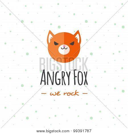 Vector cartoon fox head logo. Flat logotype.