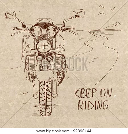 Retro Sketch Illustration With Motorbike