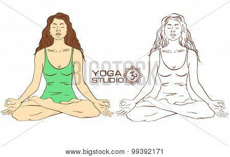 Woman Sitting On Lotus Yoga Pose.
