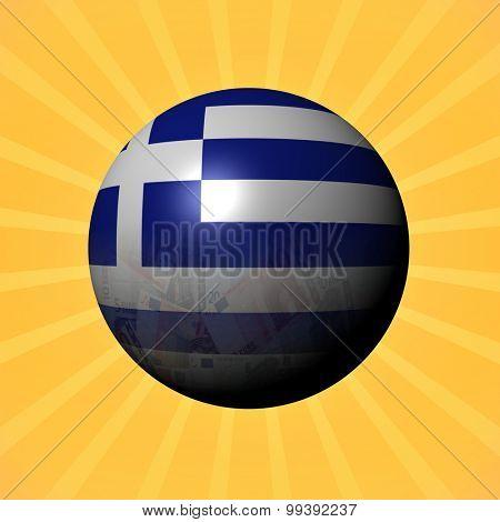 Greece flag euros sphere on sunburst illustration
