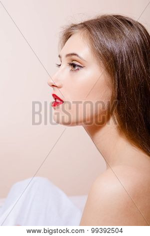 Half face close up picture of sexi young lady with perfect complexion