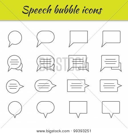 Outline icons set. Speech bubbles