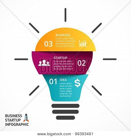 Vector light bulb infographic. Template for lamp diagram, graph, presentation and round chart. Busin