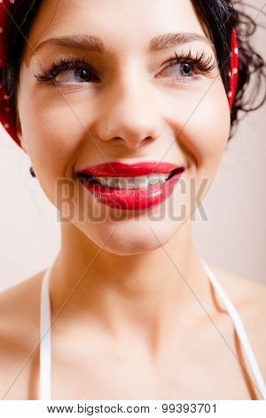 Lovely woman face closeup with perfect smile